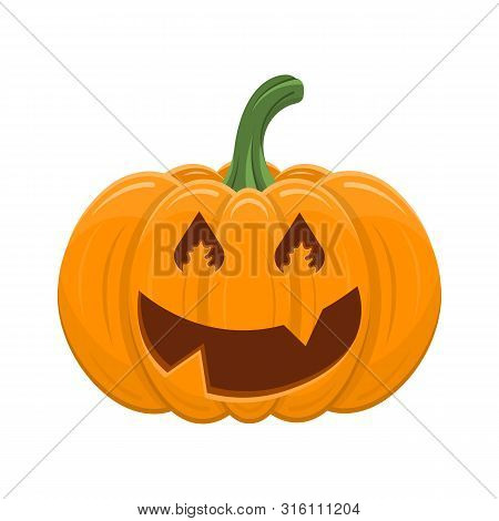 Halloween Pumpkin Isolated On White Background. Cartoon Orange Pumpkin With Smile, Funny Face. The M