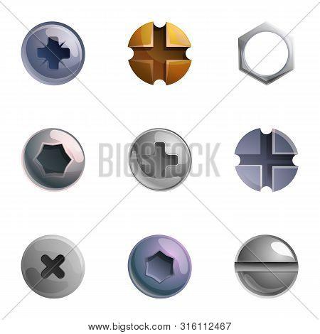 Metal Screw Head Icon Set. Cartoon Set Of 9 Metal Screw Head Vector Icons For Web Design Isolated On