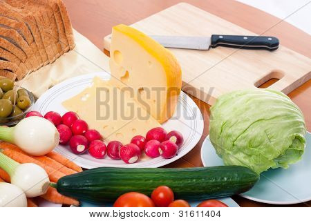 Preparing Vegetable And Cheese
