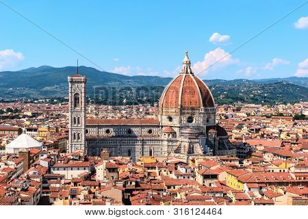 Cathedral Of Santa Maria Del Fiore And Bell Tower Of Giotto. Florence, Italy.