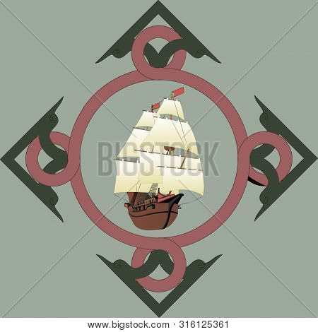 Galleon In Art Nouveau Frame. Old Wooden Historical Sailing Boat. Vector.
