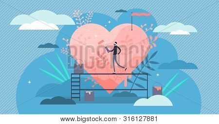 Passion Vector Illustration. Flat Tiny Hobby Love Feeling Persons Concept. Obsessive Enthusiasm Enga