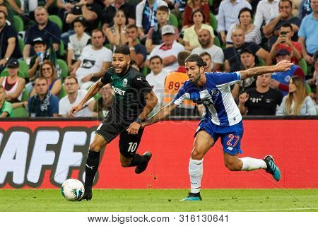 Krasnodar, Russia - August 7, 2019: Wanderson Of Fc Krasnodar In Action During The Uefa Champions Le
