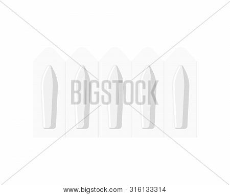 Medication Suppository Modern Flat Vector Isolated On White. Medicine Pharmacology Rectal Or Vaginal
