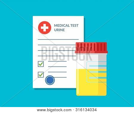 Plastic Jar Urine Pee Test And Medical Form List With Results Data And Approved Check Mark Vector Il