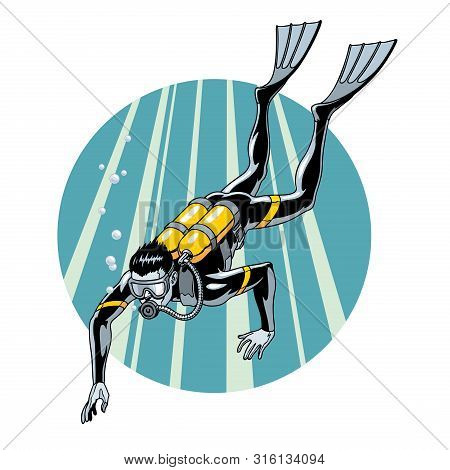 Scuba Diving Vector Illustration. Swimming Diver In Wetsuit, Mask, Flippers And Equipment For Breath