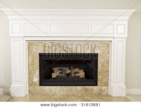 Natural gas insert fireplace with large mantel poster
