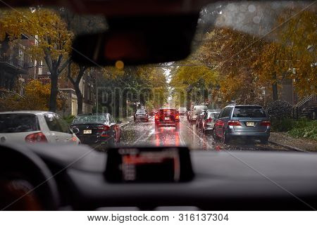 Montreal, Canada - September 21, 2018: View On Epe Avenue From A Car During The Rain In Montreal, Qu