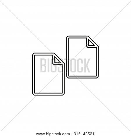 Copy or Duplicate document icon - web page symbol - office file format. Thin line pictogram - outline editable stroke poster