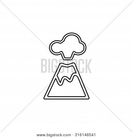 Volcano Magma Nature Blowing Up With Mountain Lava Flowing Down Vector. Thin Line Pictogram - Outlin