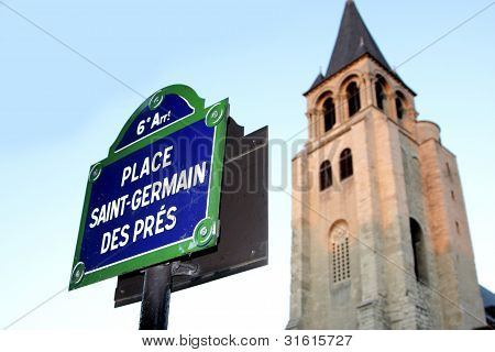 paris street signs and indication in the city intra muros Place st germain des pres poster