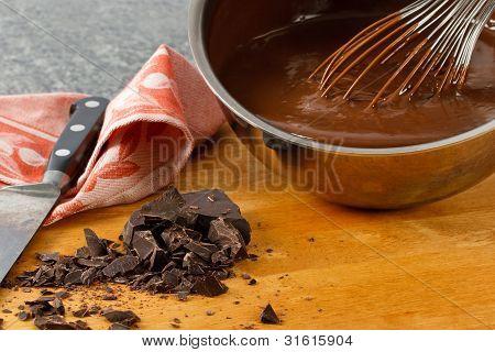 Sauce Pan With Chocolate Pudding