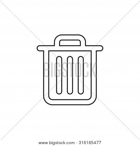 Trashcan Icon, Vector Trash Bin - Basket Illustration - Garbage Basket Symbol. Thin Line Pictogram -