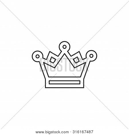 Golden Crown Icon - Vector King Crown - Queen Symbol - Majestic Element. Thin Line Pictogram - Outli