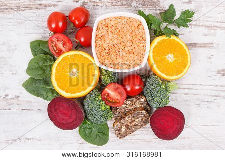 Nutritious Products Containing Vitamin B9, Natural Sources Of Minerals And Folic Acid, Concept Of He