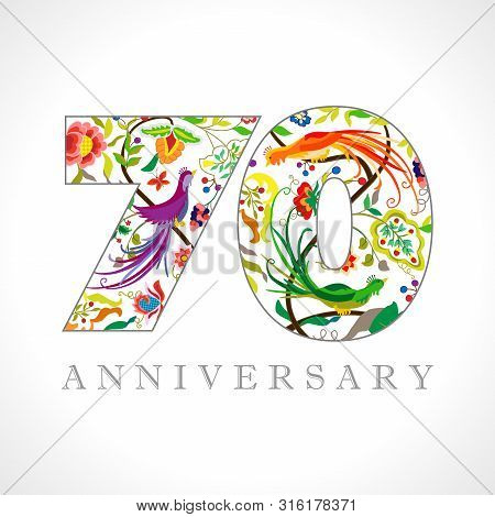 70 Years Old Logotype. 70 Th Anniversary Numbers. Decorative Symbol. Age Congrats With Peacock Birds