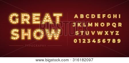 3d Light Bulb Alphabet With Gold Frame Isolated On Dark Red Background.