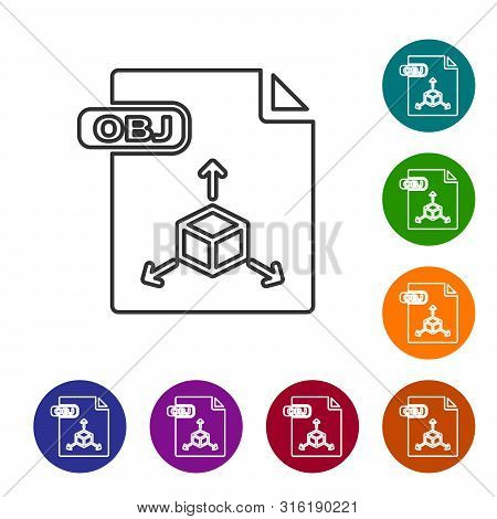 Grey Line Obj File Document. Download Obj Button Icon Isolated On White Background. Obj File Symbol.