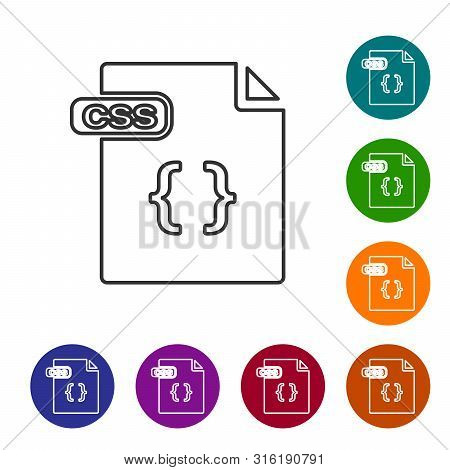 Grey Line Css File Document. Download Css Button Icon Isolated On White Background. Css File Symbol.