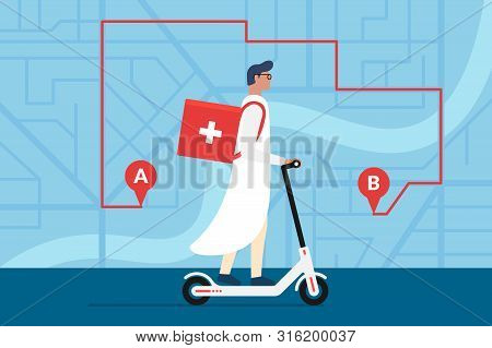 Medicine Delivery Pharmacy. Male Doctor Riding Electric Scooter With Medical Surgical Sanitary Box F