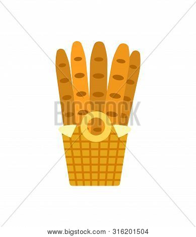 Baguettes In Wooden Basket Vector Bakery Shop Long Loaves Of Bread Isolated On White. French Mouldin