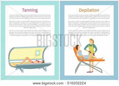 Depilation Procedure In Spa Salon. Indoor Tanning Using Device That Emits Ultraviolet Radiation To P