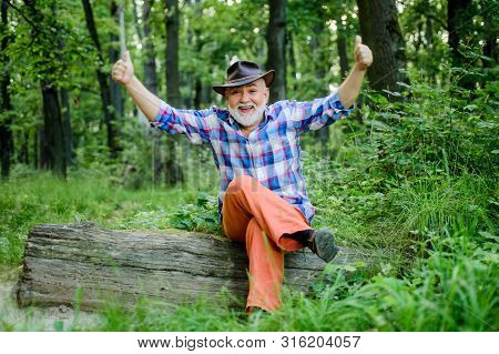 Magician In Forest. Woodman Magician Concept. Folk Magic. Mature Man With Beard In Hat. Wise Old Man