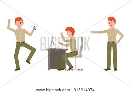 Nervous, Aggressive, Red Hair Office Worker In Green Pants Vector Illustration. Pointing Finger, Ang