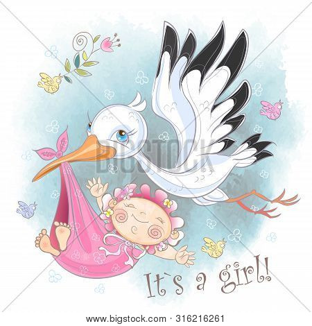 Stork Flies With Baby Girl. Baby Shower. Postcard For The Birth Of A Baby. Vector. Watercolor