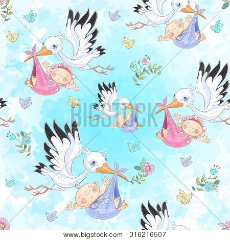 Seamless Pattern For The Birth Of A Child. Stork With Baby. Vector