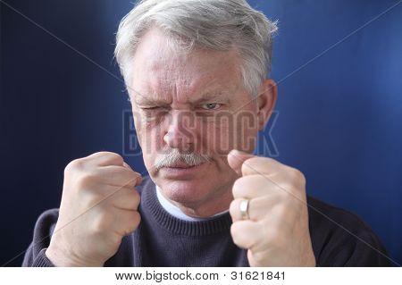 hostile and combative senior man