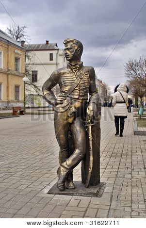 sculpture in memory of brave hussars of the Sumy hussar regiment.Ukraine. poster