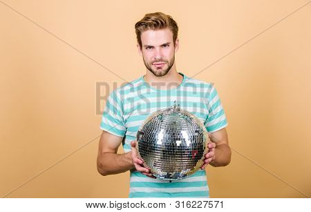 Holiday Objects. Party Time. Birthday Celebration. Christmas Or New Year Holiday. Man Dancing On Dis