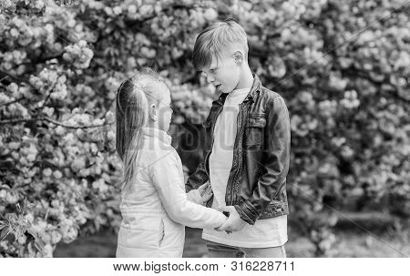 Romantic Date In Park. Spring Time To Fall In Love. Kids In Love Pink Cherry Blossom. Love Is In The