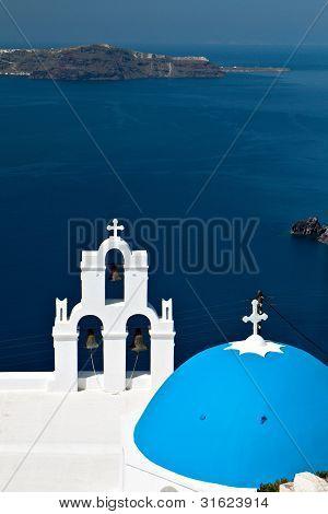 Traditional church at Santorini island in Greece