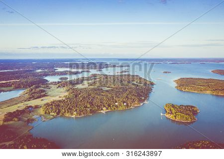 Aerial View Of Ruissalo Island. Turku. Finland. Nordic Natural Landscape. Photo Made By Drone From A