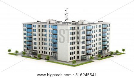 Condominium Or Modern Residential Building. Real Estate Development And The Concept Of Urban Growth.