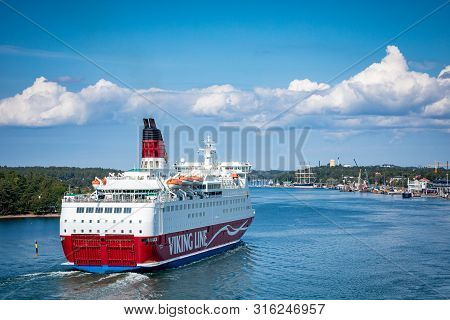 Mariehamn, Aland Islands - August 06, 2019: Cruiseferry Ms Amorella Comes To Port Of Aland Islands.