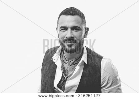 Guy handsome mafia boss. Latino fashion. Man well groomed rich fashionable macho. Guy wear clothes and accessories. Fashion macho. Mafia style. Bearded guy white background. poster