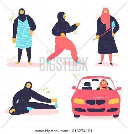 Muslim Arabic Girl In Different Situations, Wearing Hijab. Young Contremporary, Modern Woman Driving