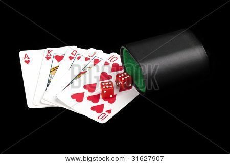 Playing Cards, Dices And Cup