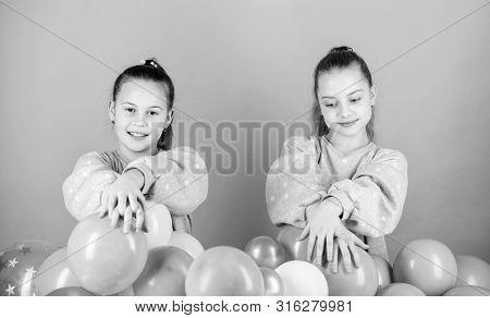 Having Fun Concept. Balloon Theme Party. Girls Best Friends Near Air Balloons. Start This Party. Bir