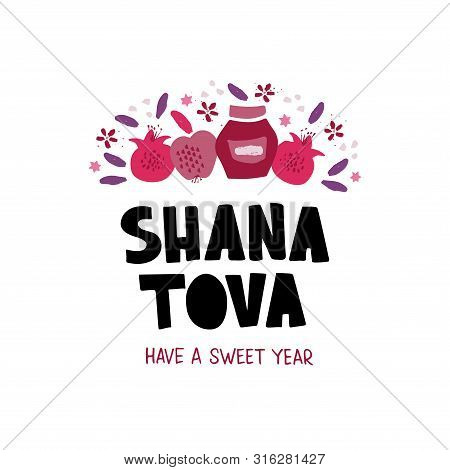 Shana Tova Desserts Flat Vector Banner Template. Jewish New Year Celebration Lettering. Traditional