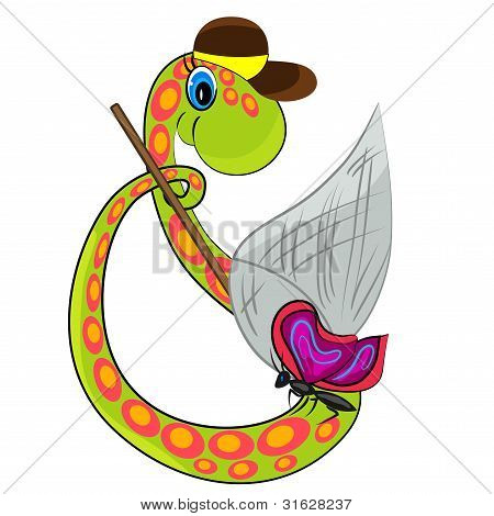 snake catching butterfly. funny reptile illustration