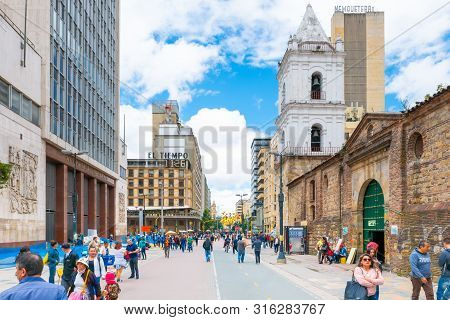 Bogota,  Colombia August 8 Bogota  La Candelaria District Is Located In The Historic Center Of The C