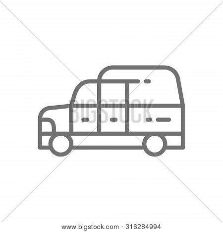Hearse, Funeral Car Line Icon. Isolated On White Background