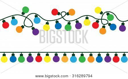 Garlands, Christmas Decorations Lights Color Effects. Glowing Lights For Xmas Holiday. Christmas Dec