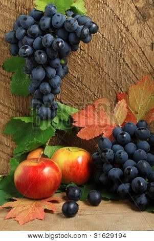 Ripe Apples, Autumn Leaves And Bunch Of Grapes