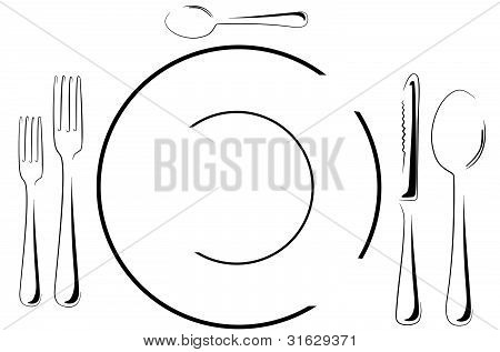 Table setting in line art