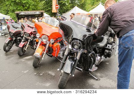 St. Petersburg, Russia - 3 August, A Number Of Powerful Road Bikes, 3 August, 2019. The Annual Festi